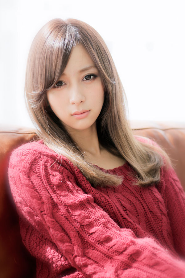 ミルクティアッシュカラー☆自然なストレートロング☆縮毛矯正