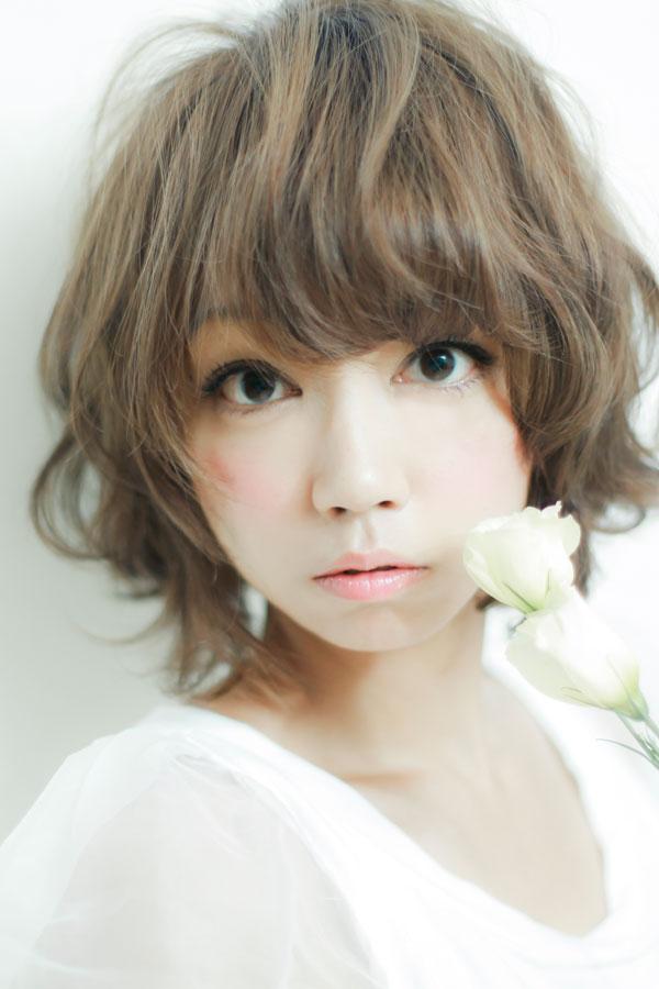 似合わせ小顔カットのゆるふわパーマショートボブ☆sherry